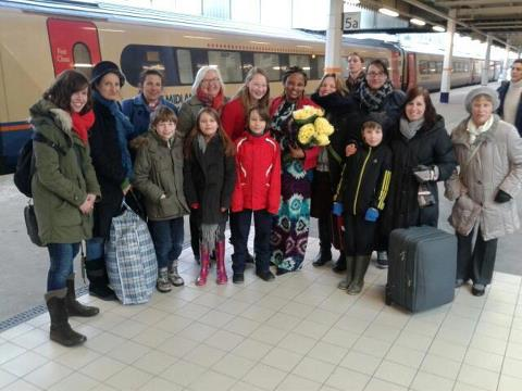 Odette was met at Sheffield Station by some of her many friends and supporters