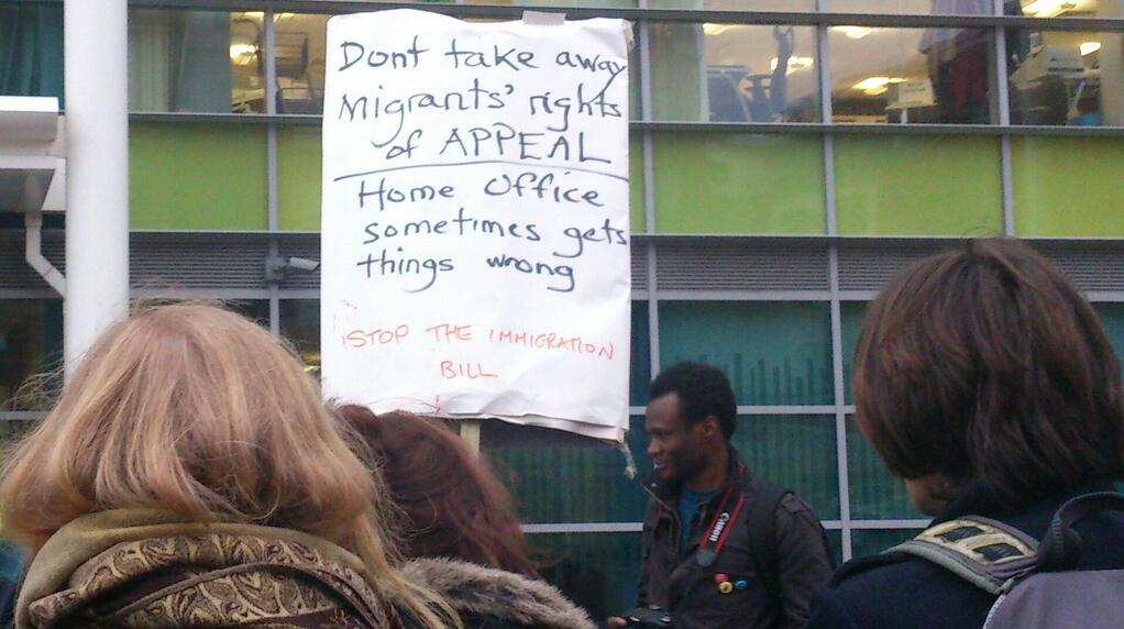 A very British placard. Outside Home Office: fighting the Immigration Bill with understatement