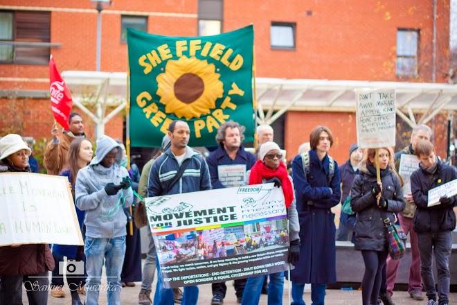demonstrating outside Vulcan House regional Home Office HQ