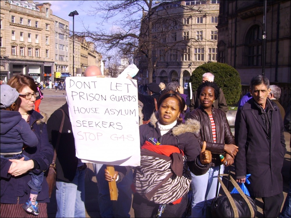 Asylum tenants protest in 2012 in Sheffield at the start of the G4S asylum housing contract.