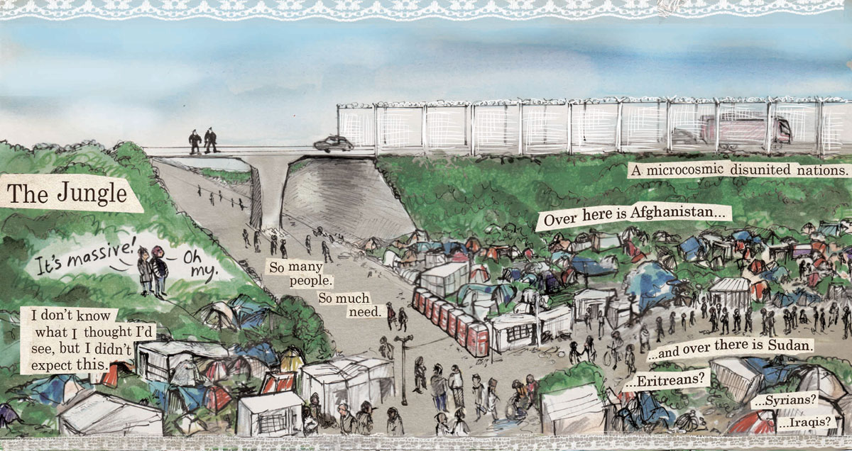 Reproduced by kind permission from Kate Evans http://www.cartoonkate.co.uk/threads-the-calais-cartoon/