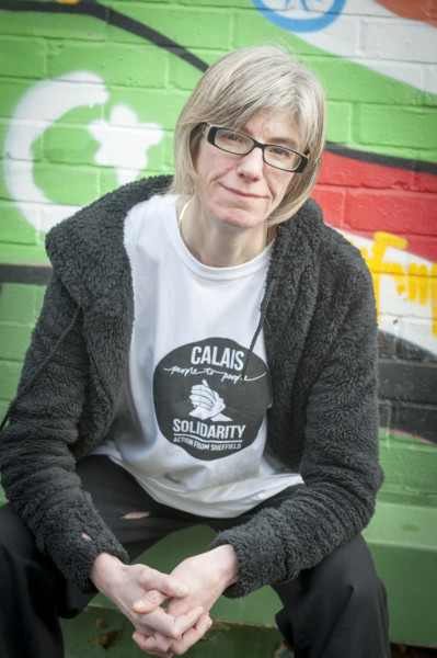 "Fran pictured in the Sheffield Star's piece ""Supplies for French refugee camps handed back to food banks in the city"" http://www.thestar.co.uk/news/refugees-donate-food-to-sheffield-1-7703570 Picture Dean Atkins"