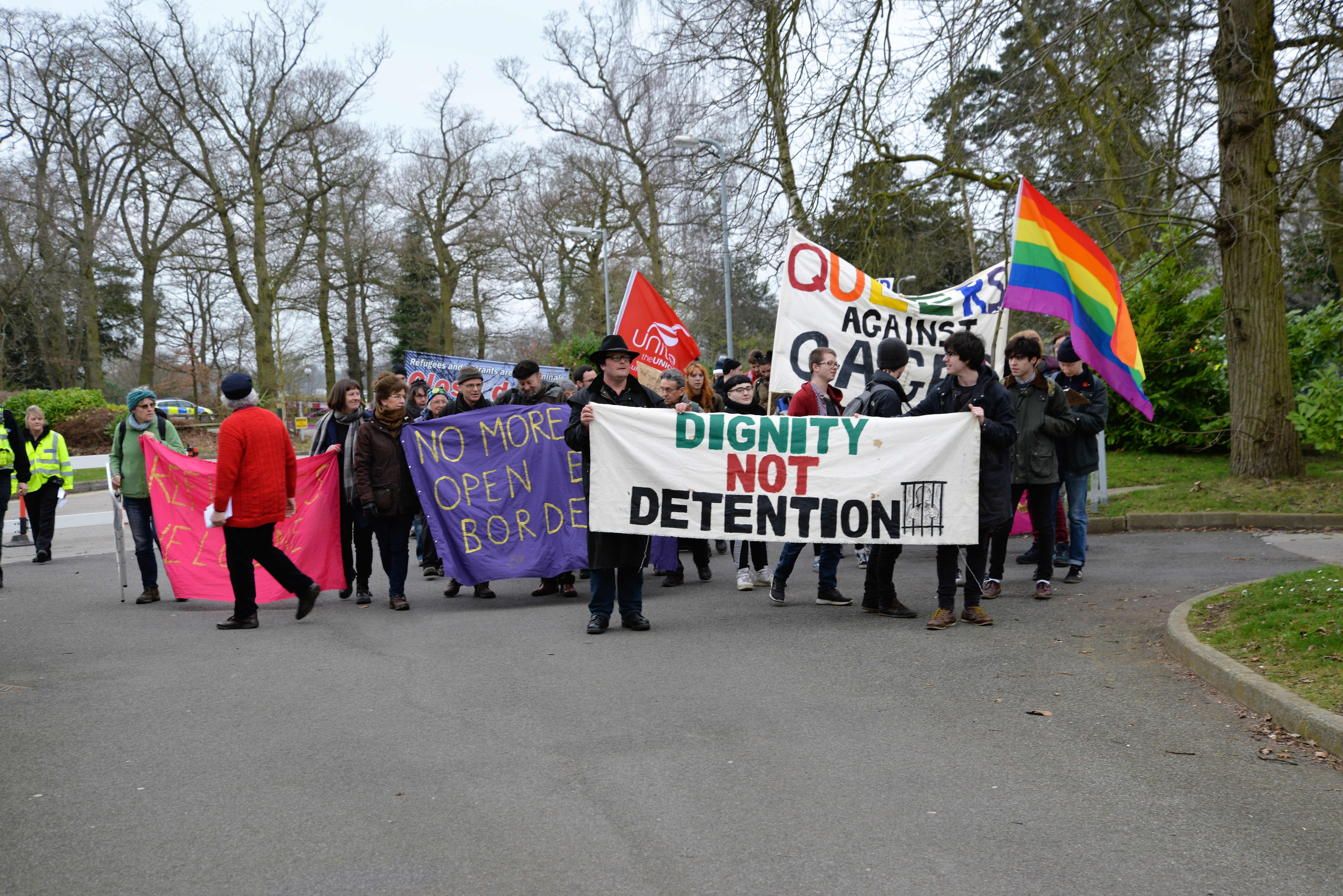 Dignity Not Detention. Protestors gather outside Morton Hall March 11th